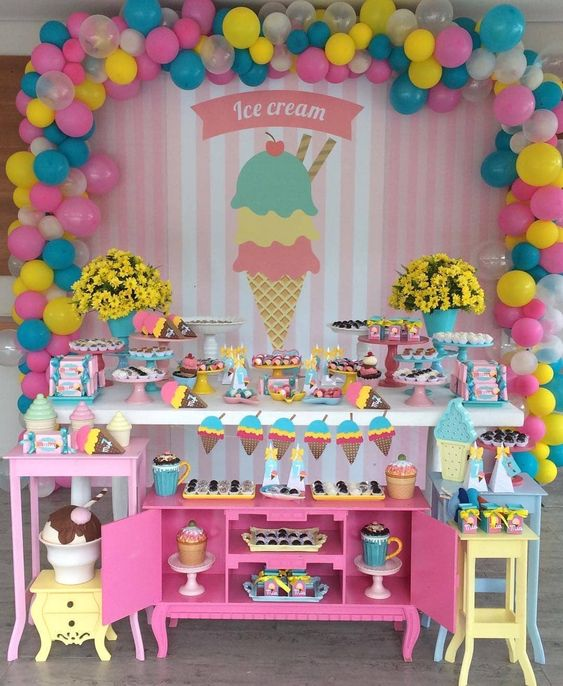 decoracion fiesta ice cream