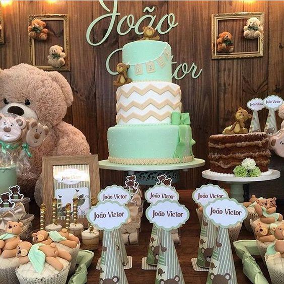 mesa de dulces baby shower osos