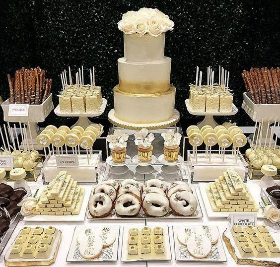 postres y torta de matrimonio