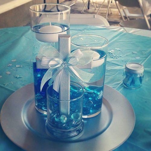 arreglo de mesa bautizo de niño