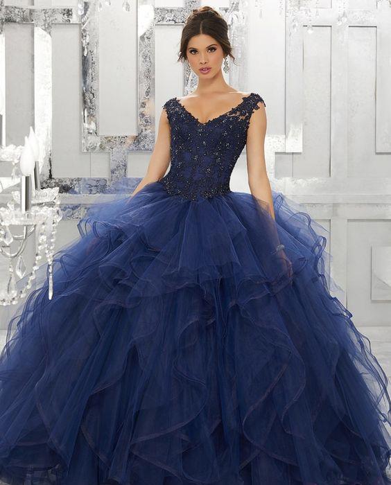 vestidos azules para quinceañeras