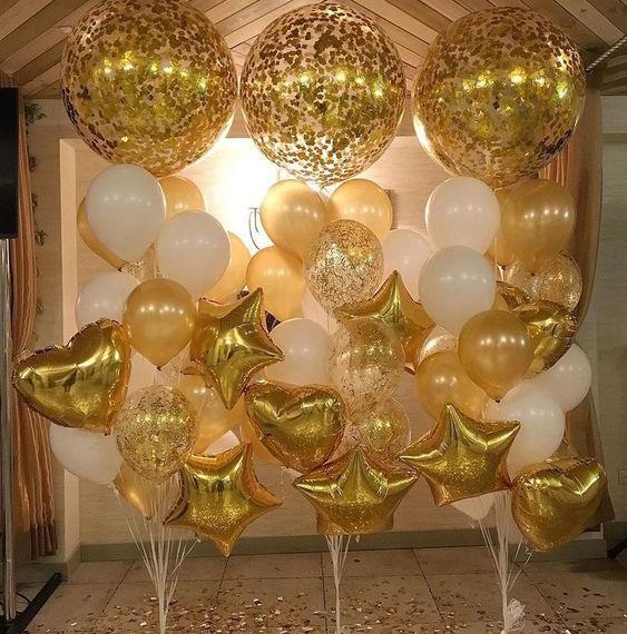 globos dorados para decoracion