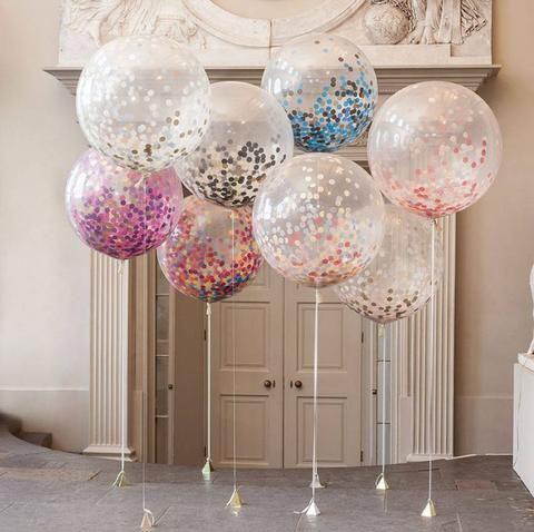 globos con helio y confeti