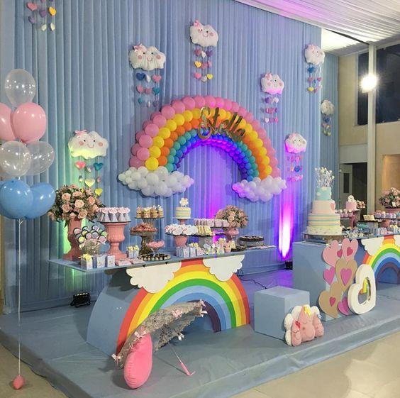 decoracion cumpleaños arco iris