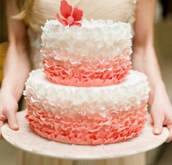 pastel para xv años en color coral