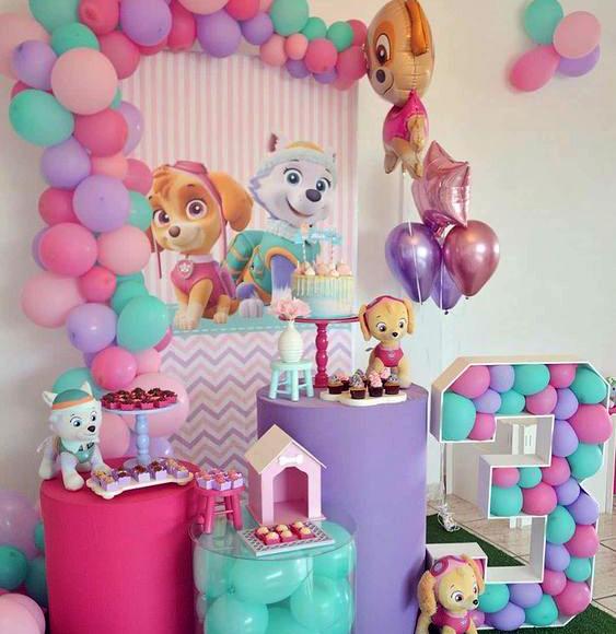 decoracion fiesta niña paw patrol