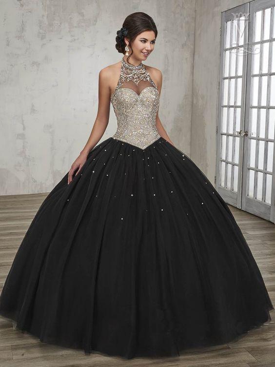 vestido 15 años negro