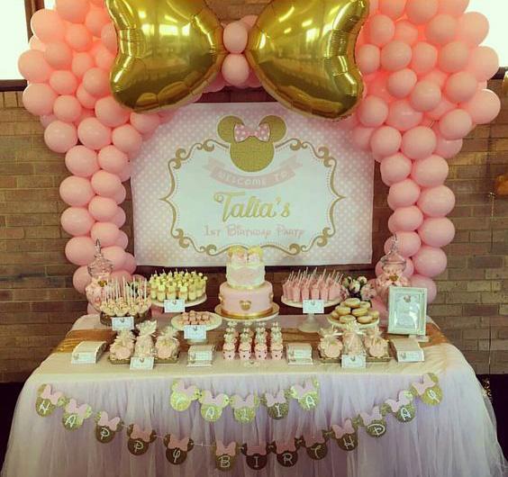 mesa de dulces baby shower de minnie mouse