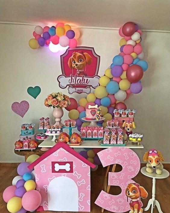 decoracion cumpleaños paw patrol para niña