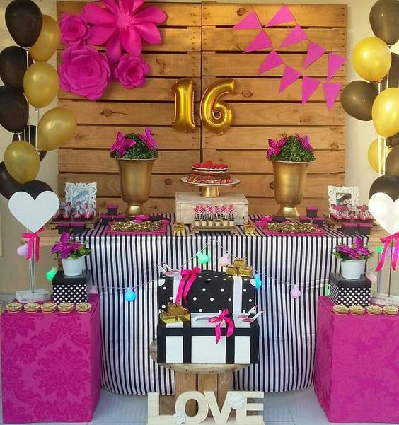 decoracion mesa de dulces 16 años