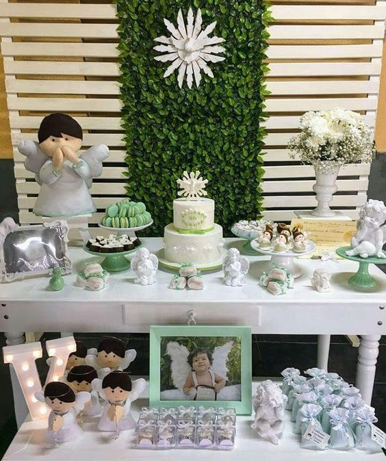 mesa de dulces bautizo blanco