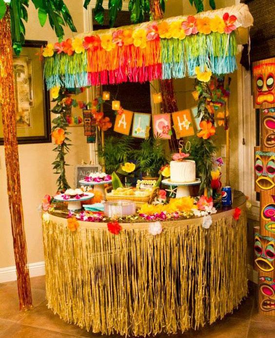 mesa de dulces hawaiana
