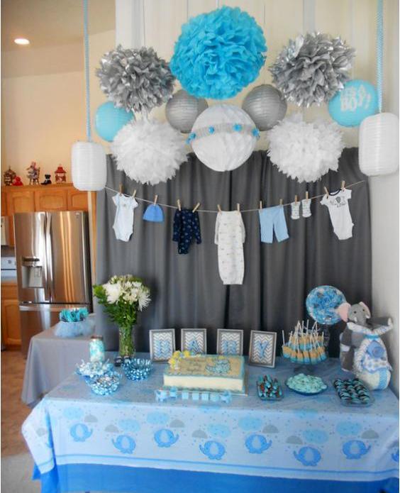mesa de postres baby shower de niño