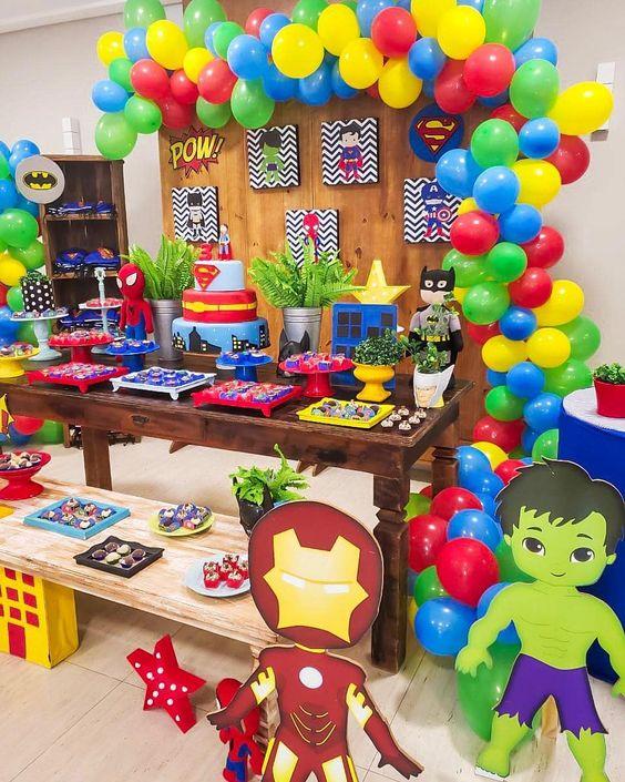 decoracion cumpleaños de super heroes