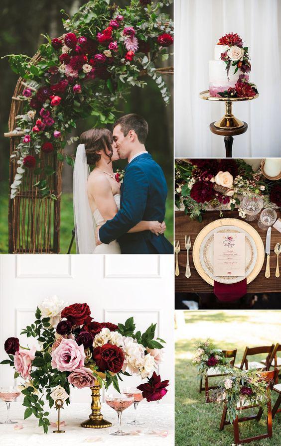 boda color vino arreglos florales