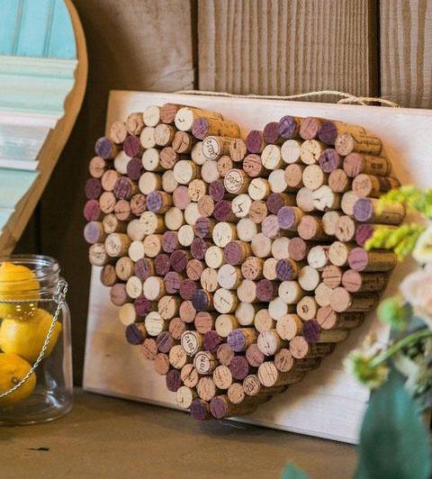 corazon de corcho para boda