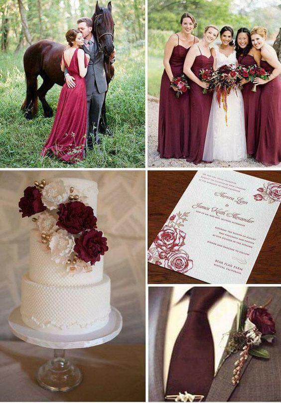 torta de boda en color vino