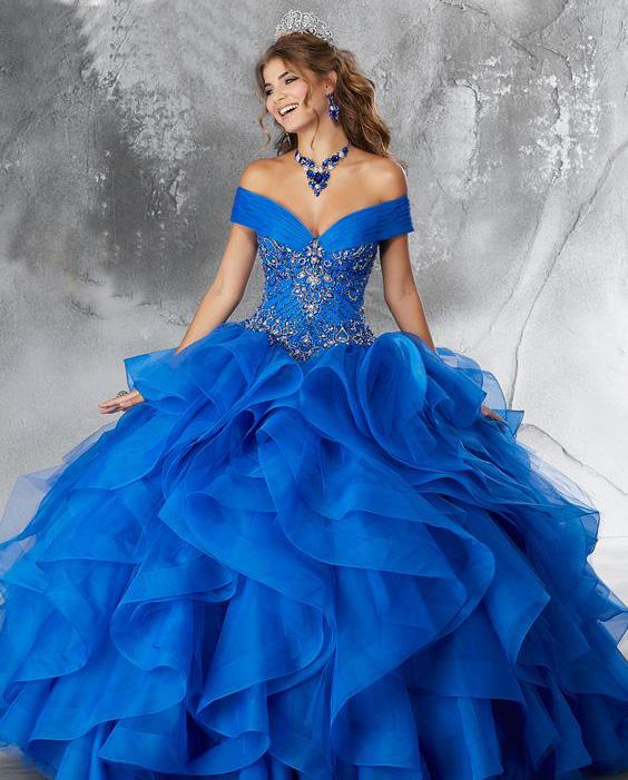 vestidos azules para 15 años