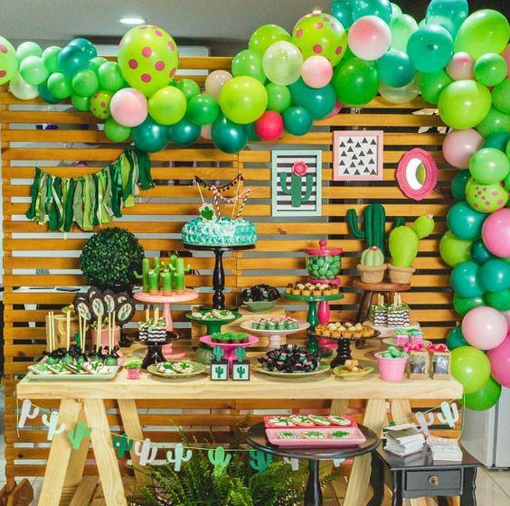decoracion de fiesta con cactus
