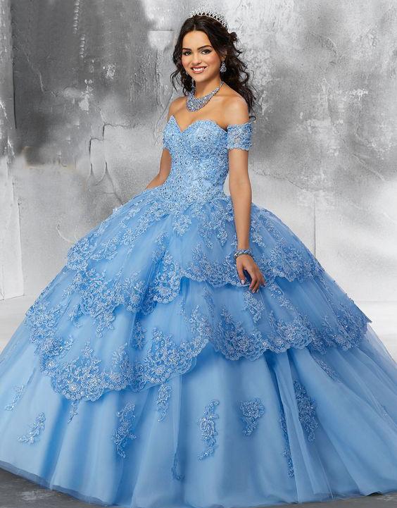 vestidos azules para xv años