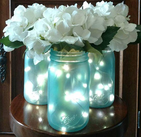 mason jars con luz
