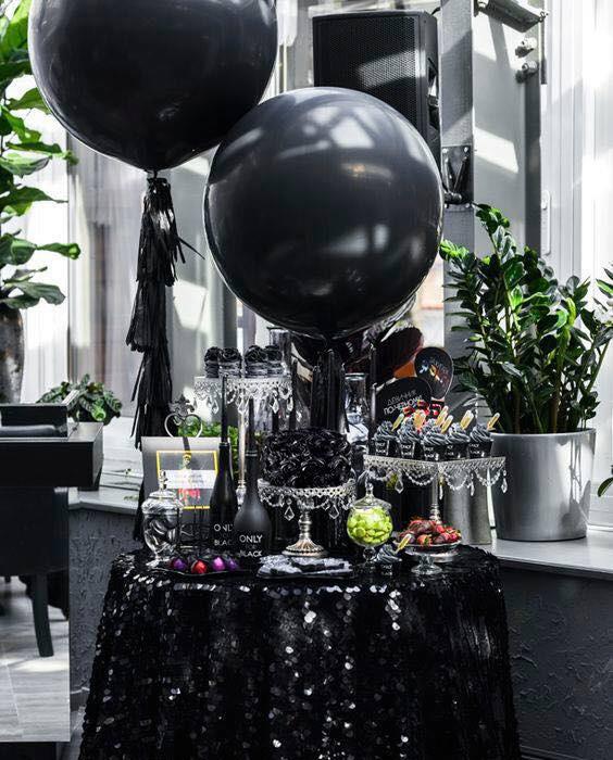 decoracion xv años negro