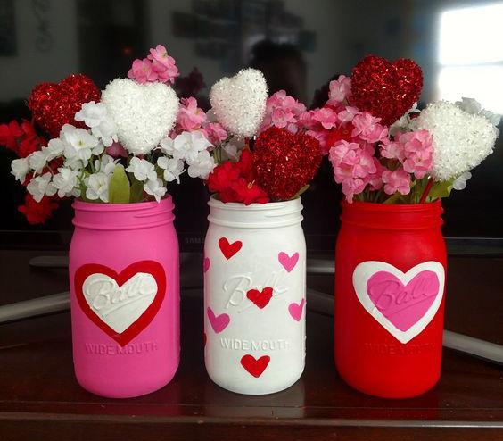 mason jars de corazones