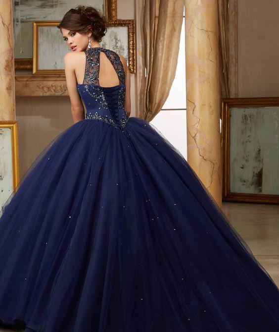 vestidos azules para quinceañera