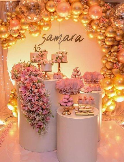 mobiliario para mesa de dulces de quinceañera