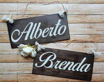 letrero boda de madera novios