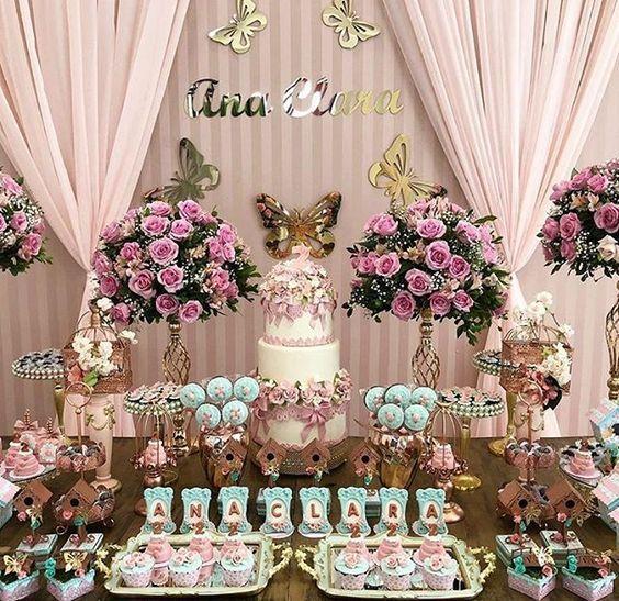 mesa de dulces fiesta mariposas