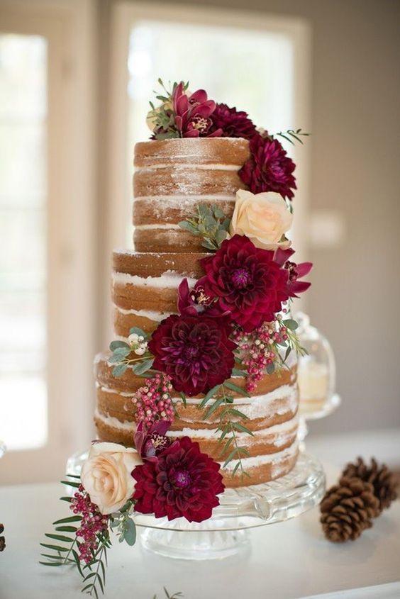 pasteles de boda color vino