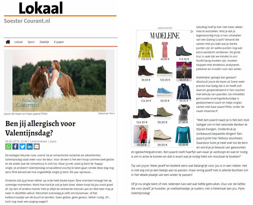 Joyce de Haan, singles coach, op Soester Courant .nl