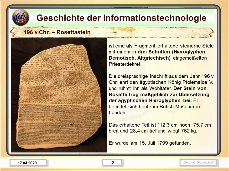 196 v.Chr. – Rosettastein