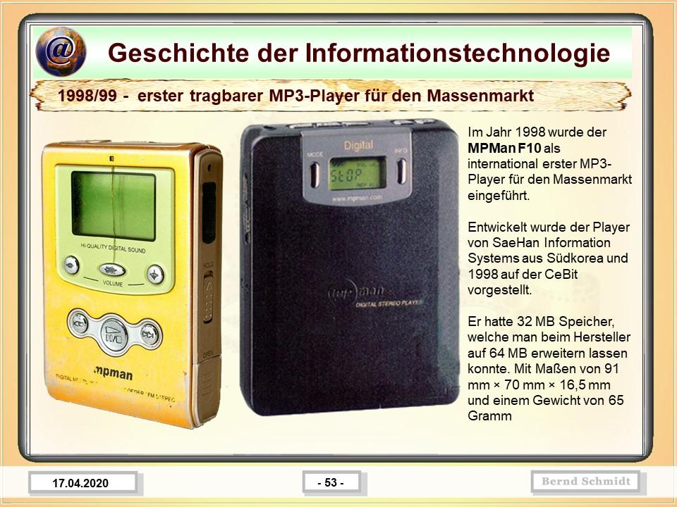 1998/99 -  erster tragbarer MP3-Player für den Massenmarkt