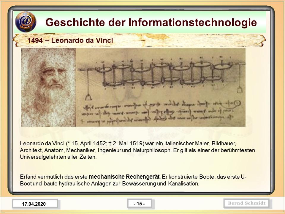 1494 – Leonardo da Vinci