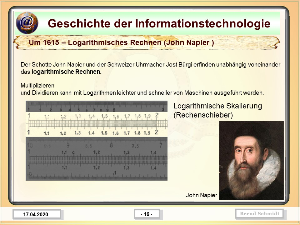 Um 1615 – Logarithmisches Rechnen (John Napier )