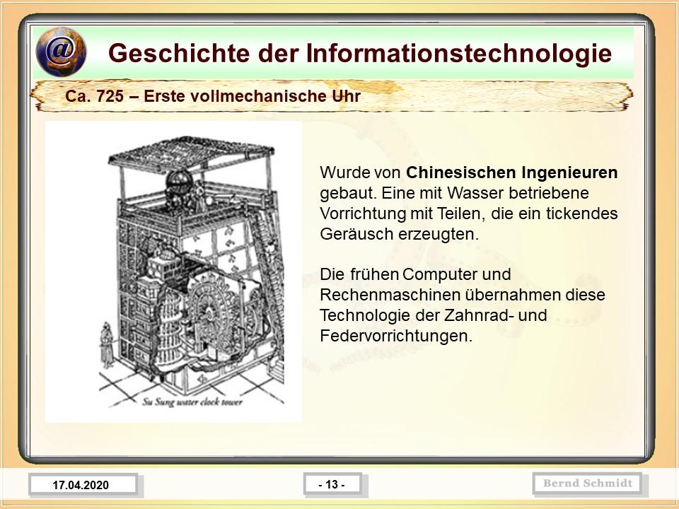 Ca. 725 – Erste vollmechanische Uhr