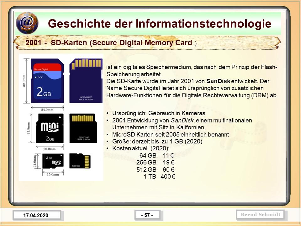 2001 -  SD-Karten (Secure Digital Memory Card )