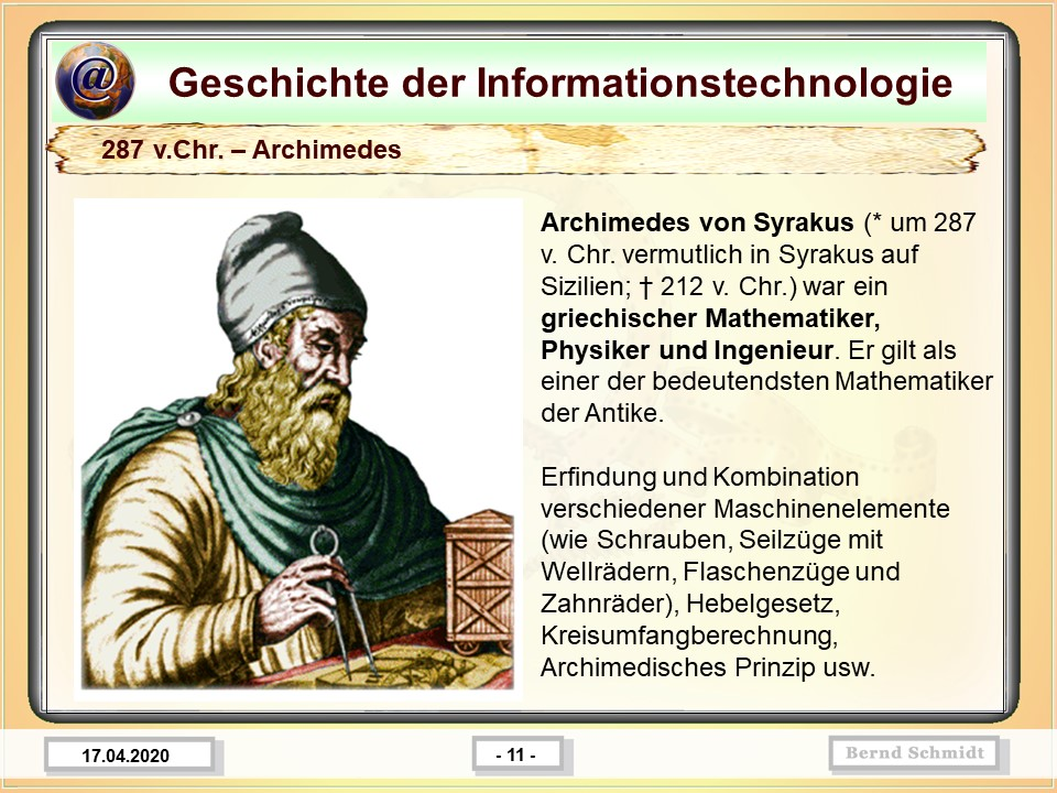 287 v.Chr. – Archimedes