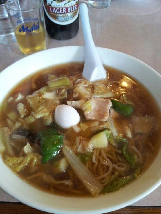 東京ドームでのアメフト観戦前の腹ごしらえ。今年初めての麺は、広東麺。残念な一品ですた。 【2014年1月3日】