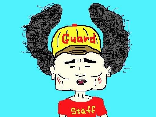 昨日のアフロ監視員でつが、監視台に座っていない とき、プールサイドではスタッフ用のキャップとT シャツを着ていますたが、毛は出放題ですたよ。w 【制作日/2013年2月18日】