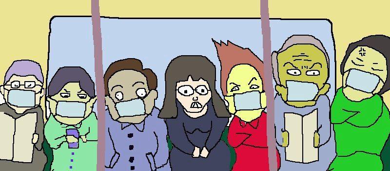 朝の中央線車内の状況を再現してみますたよ。 ダースベイダー型ヘアーのおばはん率いる マスク男子六人! 【制作日/2012年3月17日】