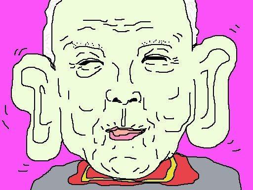 ダンボの次に耳が大きかった人類、大滝秀治さん、 今頃天国で気持ち良く空を飛んでいるのかなぁ? 【制作日/2012年10月22日】