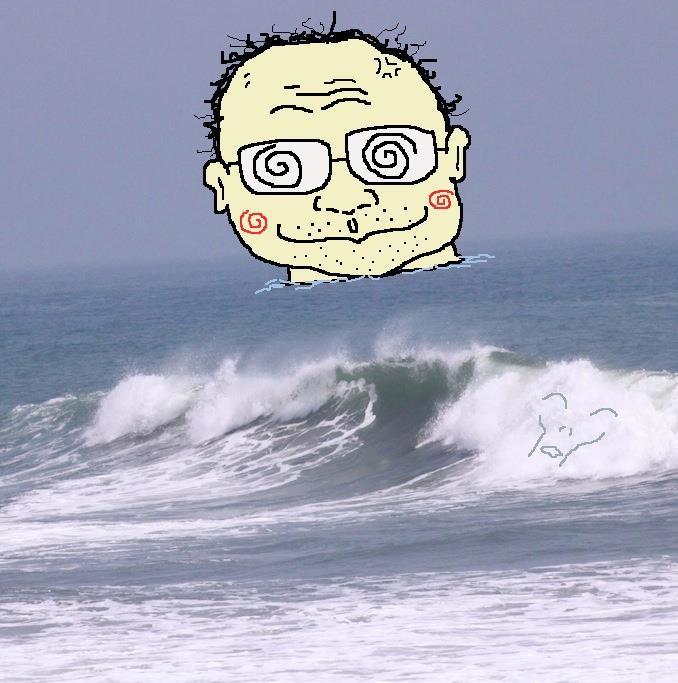 ひさよの海、高萩の沖に浸かる那須さんなんだな。 【制作日/2012年2月7日】