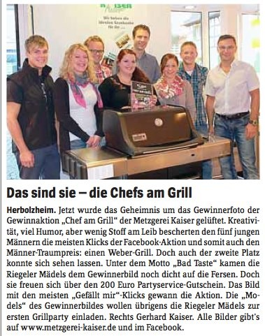 Unsere Gewinner der CHEF AM GRILL Aktion