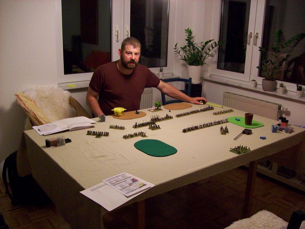Am Abend wurde noch eine Verlängerung gegeben - Later Teutonic Knights gegen Ordonnance French. (Im Bild der General der Franzosen.)