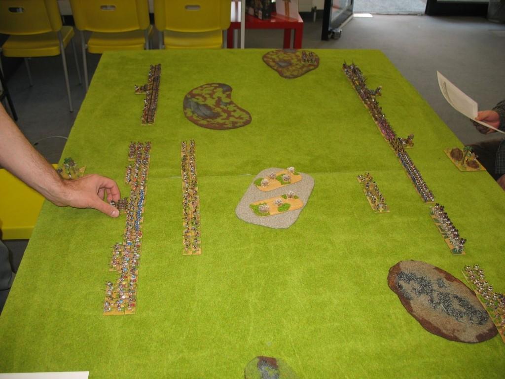 die Aufstellung der biblischen Armeen zu Beginn des Spiels