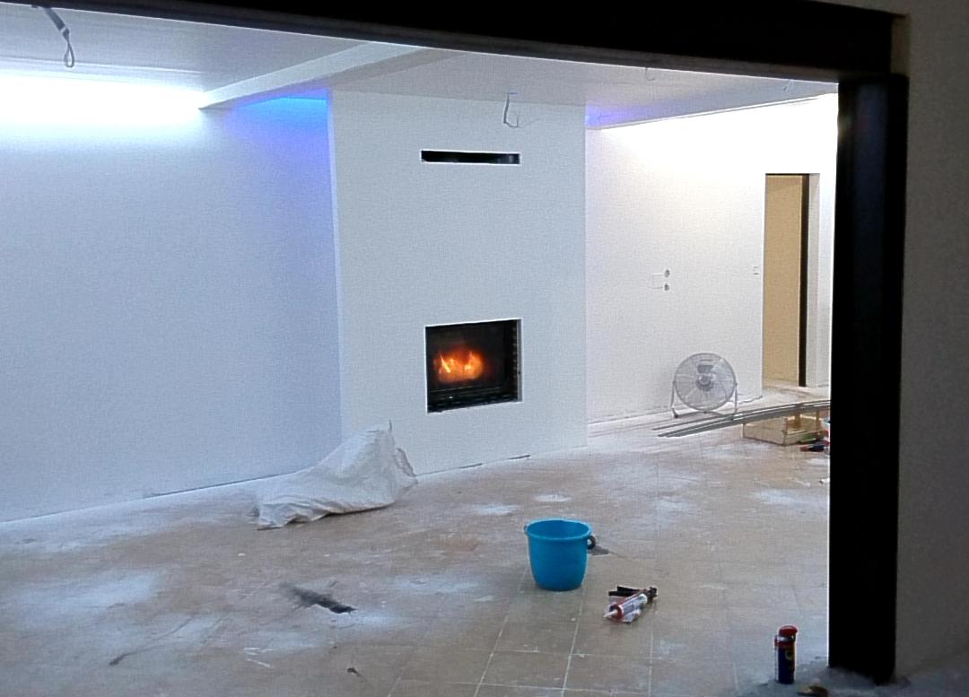 Habillage de cheminée et plafond led
