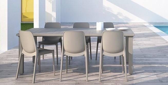 Seduta Ginevra e tavolo Per3  (allungabile) colore tortora